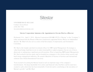 Sitestar Corporation Announces the Appointment of Jeremy Deal as a Director